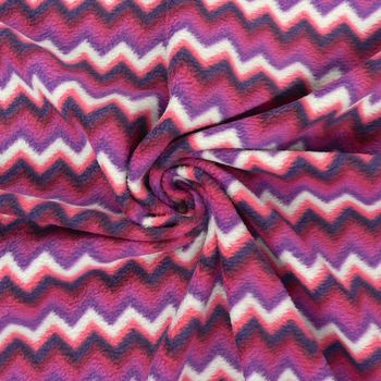 Fleece Stoff Polar Fleece Chevron Zacken pink lila weiß – Bild 3