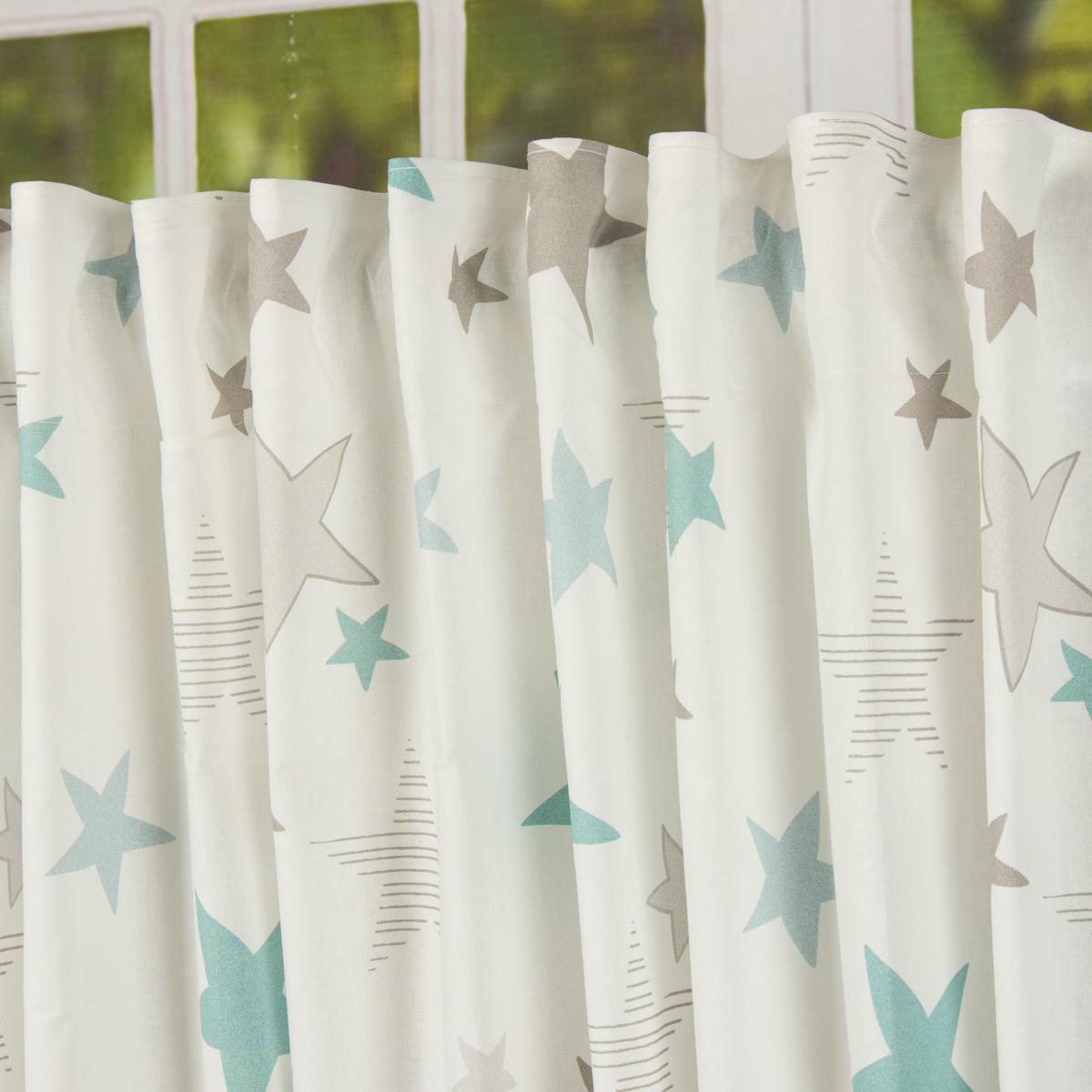 fertiggardine fertigschal stars sterne mit verdeckten schlaufen wei t rkis grau 140x245cm. Black Bedroom Furniture Sets. Home Design Ideas