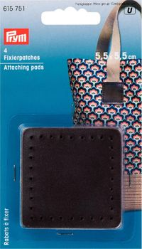 Prym Fixier Patches Kunstleder dunkelbraun 4 Stück 5,5x5,5cm
