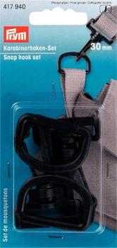 Prym Karabinerhaken D-Ringe Set 30mm Kunststoff schwarz