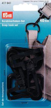Prym Karabinerhaken D-Ringe Set 40mm Kunststoff schwarz