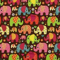 Baumwollstoff Elefanten braun bunt 001