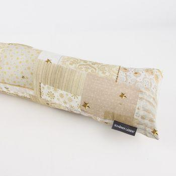 Zugluftstopper Patchwork Schleife goldfarbig weiß braun 80 bis 130cm lang – Bild 1