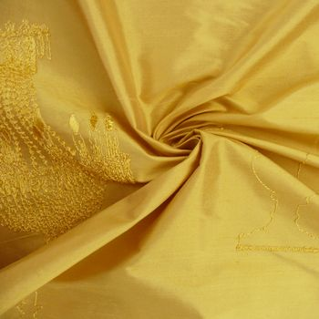Brigitte von Boch Seidenstoff Dekostoff 100% Seide bestickt Meterware Kandelaber Silk Leuchter goldfarbig 139cm – Bild 1