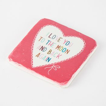Untersetzer I LOVE YOU TO THE MOON AND BACK AGAIN Vintage Stein 10x10cm – Bild 3