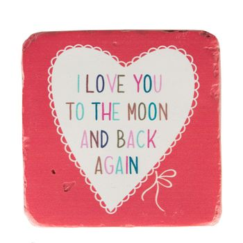 Untersetzer I LOVE YOU TO THE MOON AND BACK AGAIN Vintage Stein 10x10cm – Bild 5