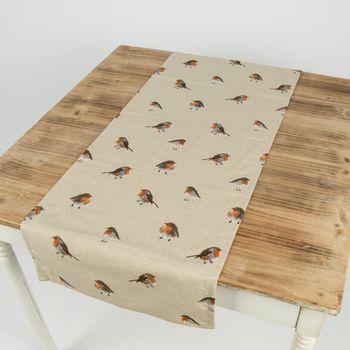 Gardinenstoff Stoff Dekostoff Vogel Rotkehlchen natur braun – Bild 9