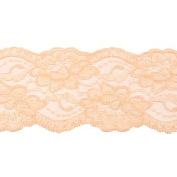 Spitze elastisch Blumen sand Meterware Breite: 9,5cm – Bild 1