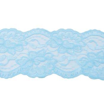 Spitze elastisch Blumen hellblau Meterware Breite: 9,5cm – Bild 1