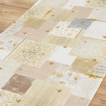 Schöner Leben Tischläufer Patchwork Schleife goldfarbig weiß 40x160cm – Bild 3