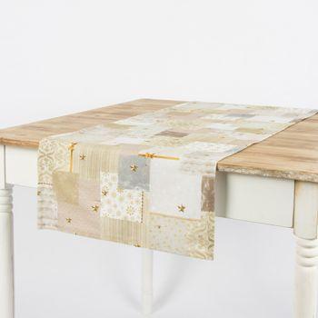 Schöner Leben Tischläufer Patchwork Schleife goldfarbig weiß 40x160cm – Bild 1