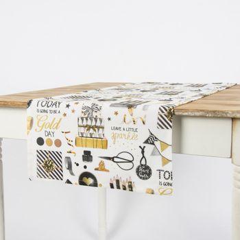 Schöner Leben Tischläufer Party Geschenke weiß goldfarbig schwarz 40x160cm – Bild 1