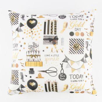 Schöner Leben Kissenhülle Party Geschenke weiß goldfarbig schwarz 50x50cm