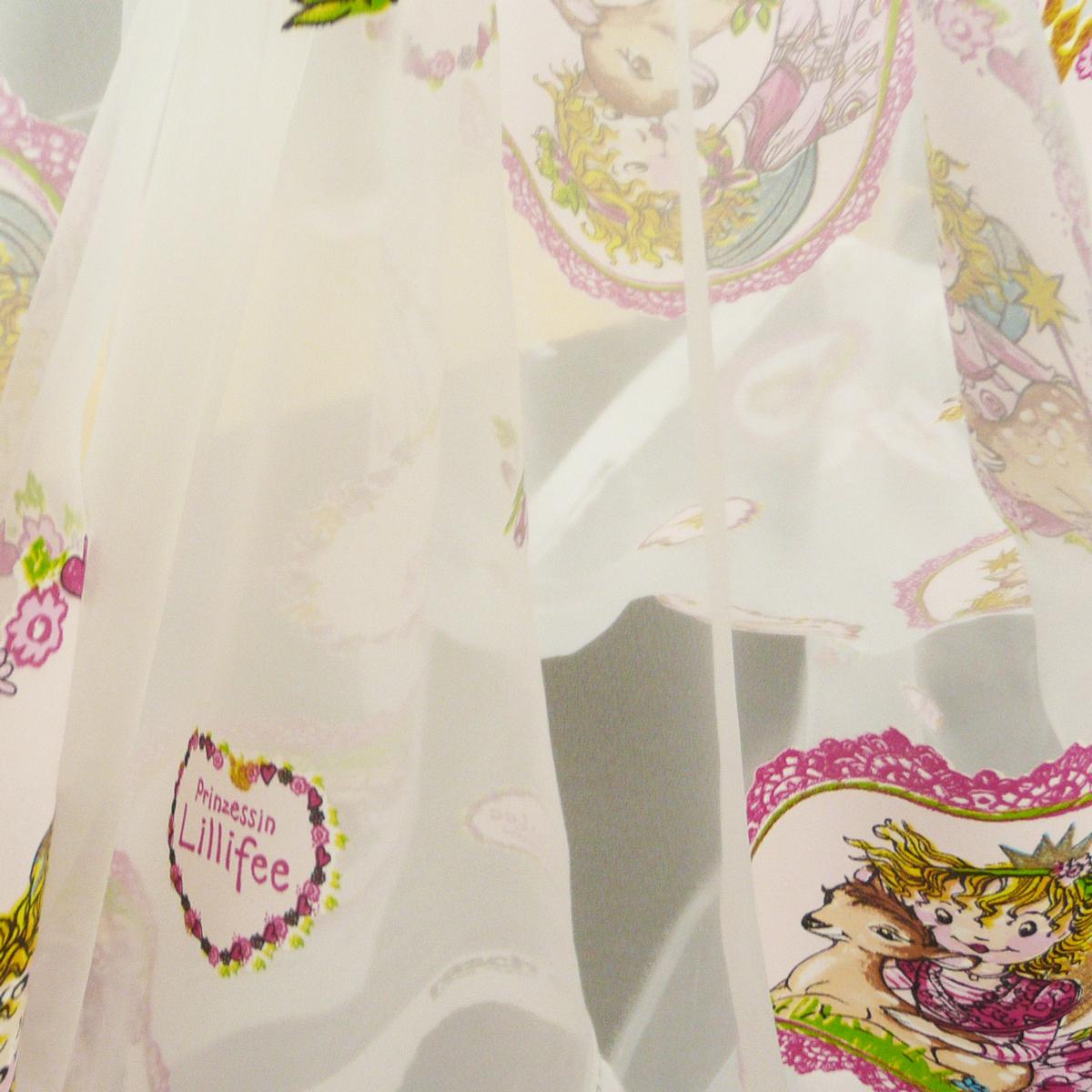 rasch gardinenstoff organza ausbrenner prinzessin lillifee mit reh wei pink rosa 300cm alle. Black Bedroom Furniture Sets. Home Design Ideas