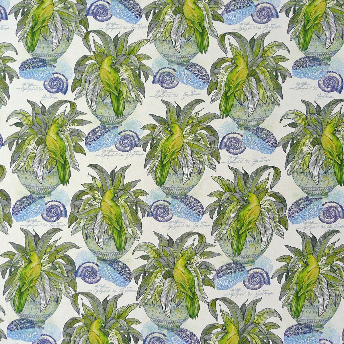 dekostoff pflanze vogel muschel wei blau gr n alle stoffe stoffe gemustert stoff tiermotive. Black Bedroom Furniture Sets. Home Design Ideas