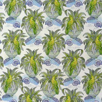 Dekostoff Pflanze Vogel Muschel weiß blau grün – Bild 1