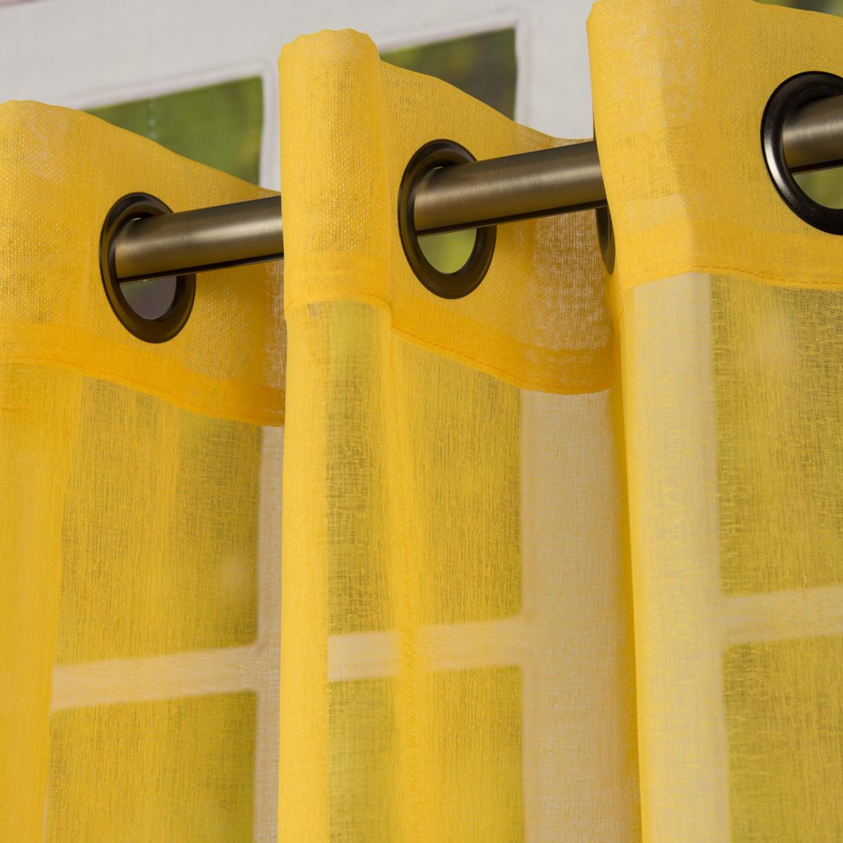 Fertiggardine Ösengardine einfarbig Voile Struktur gelb 135x260cm