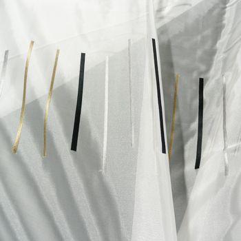 Rasch Organza Gardinenstoff Stickerei Meterware Reflection Stores Streifen weiß grau schwarz antikgold 280cm – Bild 2