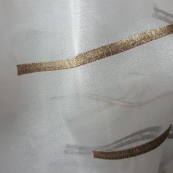 Rasch Organza Gardinenstoff Stickerei Meterware Reflection Stores Streifen weiß grau schwarz antikgold 280cm