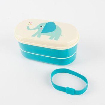 Box Brotzeit-Dose Bentobox Elefant blau creme 9-teilig 16x9cm – Bild 4
