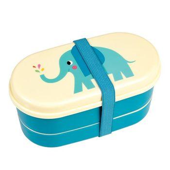 Box Brotzeit-Dose Bentobox Elefant blau creme 9-teilig 16x9cm – Bild 5