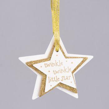 Weihnachten Deko Anhänger 3er Stern twinkle twinkle weiß  goldfarbig 9x9cm – Bild 1