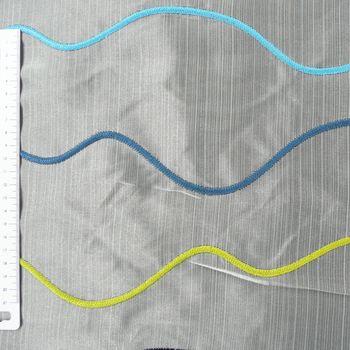 Rasch Organza Gardinenstoff Stickerei Meterware Stores Easy Way Wellen weiß aqua grün schwarz 280cm – Bild 3