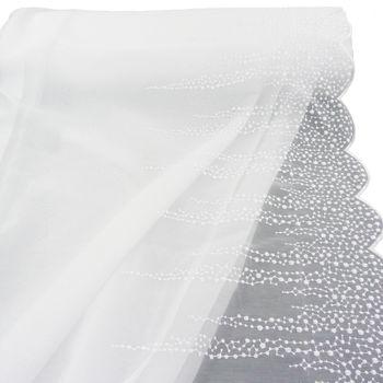 Gardinenstoff Stores Stickerei weiß kleine Blüten Bogenabschluss 2,80m Höhe – Bild 1