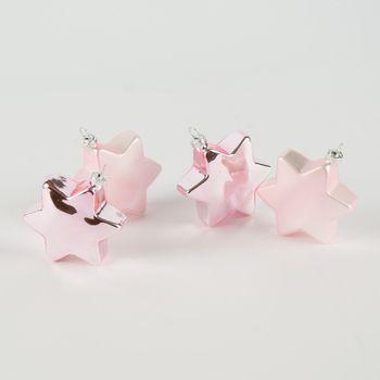 Weihnachtskugeln Christbaumkugeln Sternanhänger 4Stk rosa Ø8cm – Bild 1