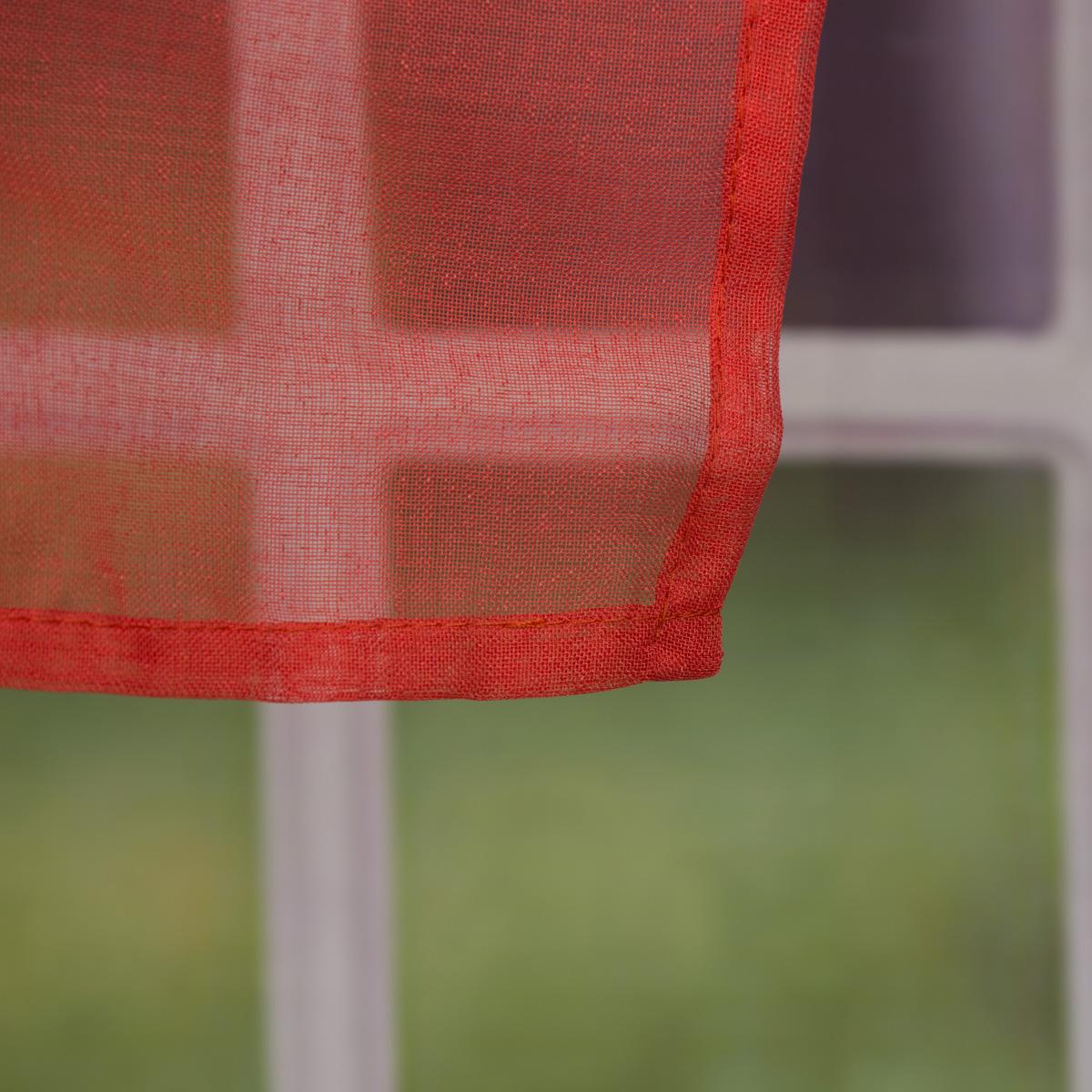 fertiggardine sengardine einfarbig voile struktur coralle rot 135x260cm fertiggardinen senschals. Black Bedroom Furniture Sets. Home Design Ideas