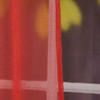 Fertiggardine Ösengardine einfarbig Voile Struktur coralle rot 135x260cm – Bild 4