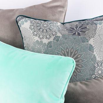 Möbelstoff Polsterstoff Dekostoff Doily Mandala Blumen grau türkis 1,40m Breite – Bild 9