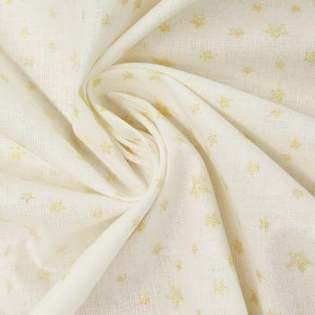 Baumwollstoff Sterne weiß goldfarbig Glitzer – Bild 1