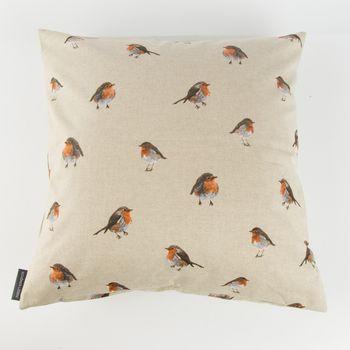 Schöner Leben Kissenhülle Vogel Rotkehlchen natur braun 50x50cm – Bild 1
