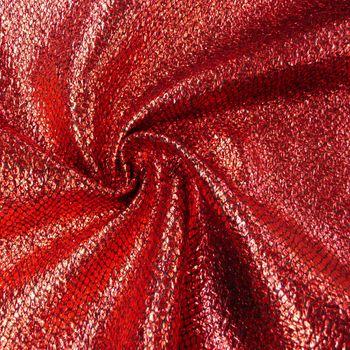 Schlangenhaut Optik Metallic Stoff Faschingsstoff rot schwarz 1,4m Breite