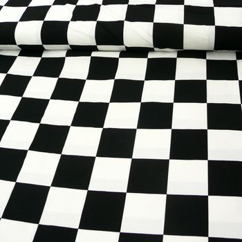 Polyester Stoff Kacheln Schachbrettmuster Vierecke schwarz weiß 1,5m Breite – Bild 1