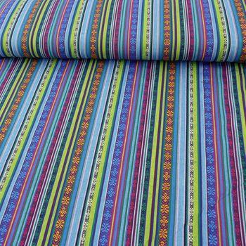 Stoff Polyester Streifen MEXICO blau grün pink 1,5m Breite – Bild 1