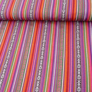 Stoff Polyester Streifen MEXICO rot pink grün blau 1,5m Breite – Bild 1