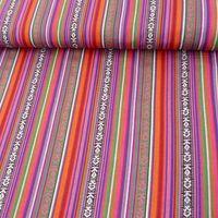 Stoff Polyester Streifen MEXICO rot pink grün blau 1,5m Breite 001