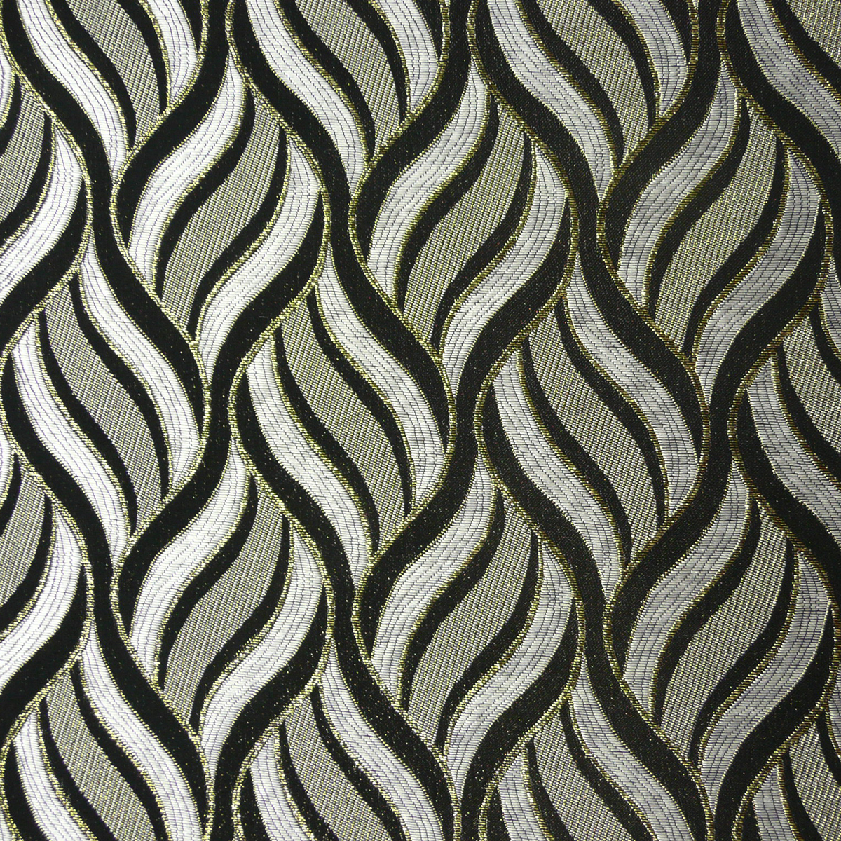 Lurex Jacquard Stoff Wellen weiß grau goldfarbig Glitzer
