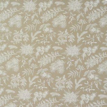 Dekostoff Baumwollstoff Herbst Blumen Mistelzweig Blätter Zweige natur weiß – Bild 1