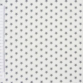 Baumwollstoff Sterne weiß grau
