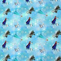 Jersey Disney Frozen Elsa Anna Olaf Eiskristalle hellblau Digitaldruck 1,5m Breite 001
