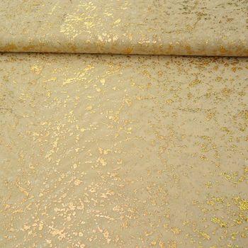 Tüll Glitzer Flecken beige goldfarbig 1,5m Breite – Bild 3