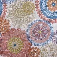Möbelstoff Polsterstoff Dekostoff Doily Mandala Blumen terra blau 1,40m Breite 001