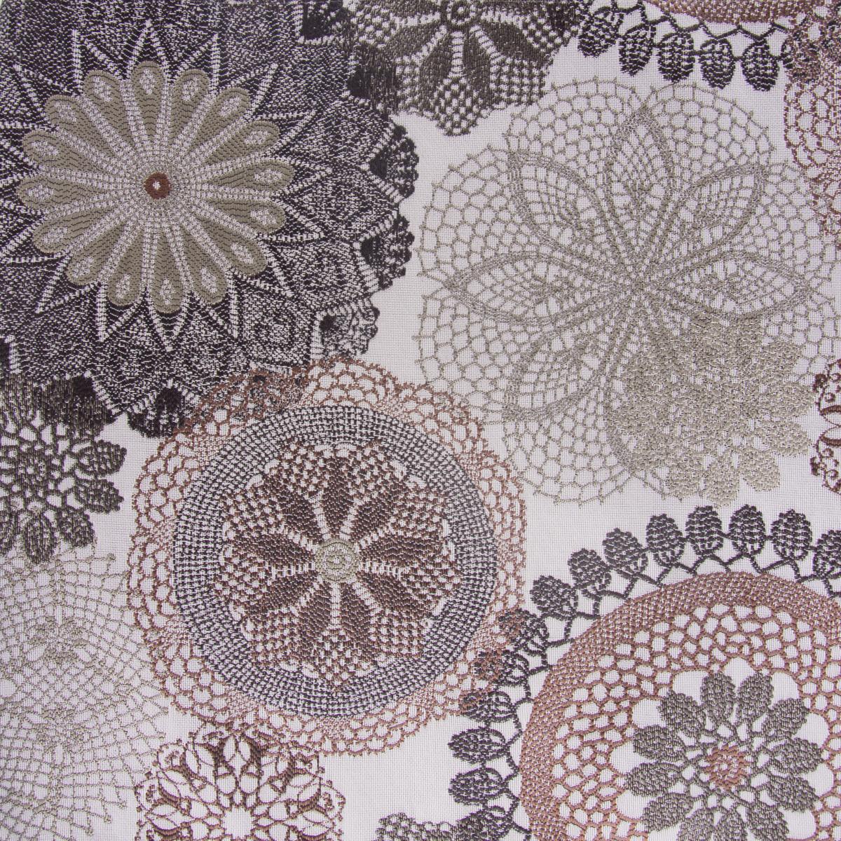 Möbelstoff Polsterstoff Dekostoff Doily Mandala Blumen mocca 1,40m Breite