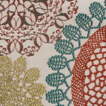 Möbelstoff Polsterstoff Dekostoff Doily Mandala Blumen petrol terra 1,40m Breite – Bild 3