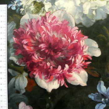 Samtstoff Dekostoff Italian Velvet Samt Blumen bunt 1,45cm – Bild 3