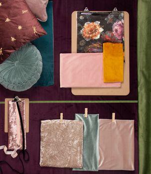 Samtstoff Dekostoff Italian Velvet Samt Blumen bunt 1,45cm – Bild 7
