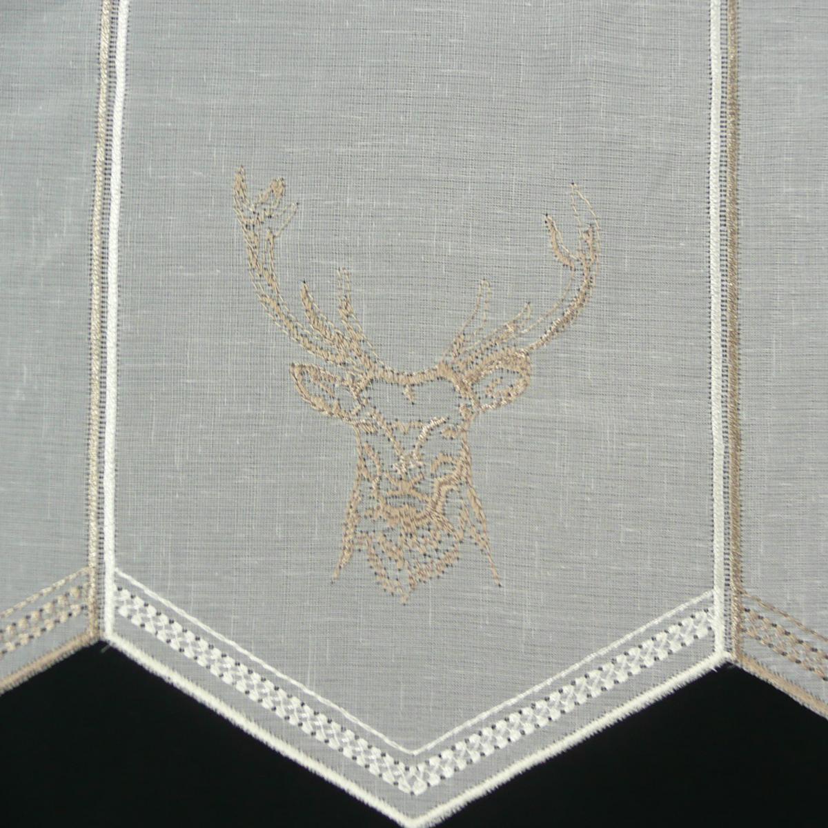 Gardine bistrogardine panneaux stickerei hirsch natur taupe 45cm h he inspirationen weihnachten - Bistrogardine weihnachten ...
